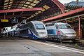 Strasbourg Gare Centrale voies 2 3 rames TGV 19 août 2013 07.jpg