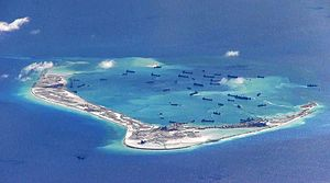 Spratly Islands dispute - Subi Reef being built up into an artificial island, 2015