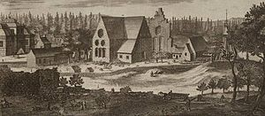 Nydala Abbey - Engraving showing the site of Nydala Abbey in the late 17th century. From Suecia Antiqua et Hodierna by Erik Dahlbergh.