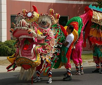 Dragon dance - The head of Sun Loong in Bendigo, Australia.
