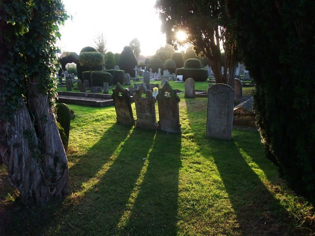 Sundown at Bourne Cemetery - geograph.org.uk - 1577809