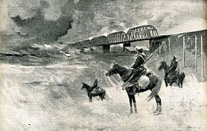 Chinese Eastern Railway - Cossacks guard the CER bridge over the Sungari River in Harbin during the Russo-Japanese War (1905)