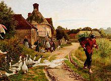 手表站门外站着一家自己的小屋,与一篮子蕨类植物在他的背上,偷偷摸摸地走通过一个小村庄,是一个转业军人追逐一群鹅。