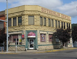 The historic Sutherlin Bank Building (built 1910), located at 101 West Central Avenue in Sutherlin