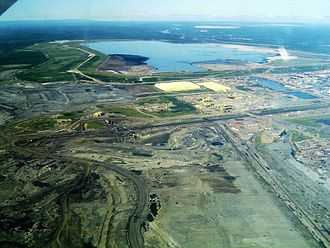 Oil sands - Syncrude's Mildred Lake site, plant and tailings ponds Fort McMurray, Alberta
