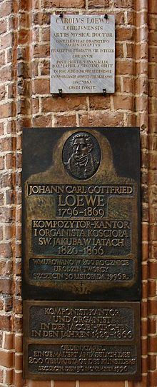 Gedenktafel in der Jakobikirche in Stettin (Quelle: Wikimedia)