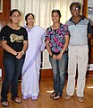 Table tennis star and Arjuna Award winner for the year 2009, Ms. Poulomi Ghatak (second to right) with her father and sister met the Union Minister for Railways, Kumari Mamata Banerjee, in New Delhi on August 31, 2009.jpg