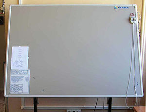 Graphics tablet - A large-format graphic tablet by manufacturer Summagraphics (OEM'd to Gerber): The puck's external copper coil can be clearly seen.