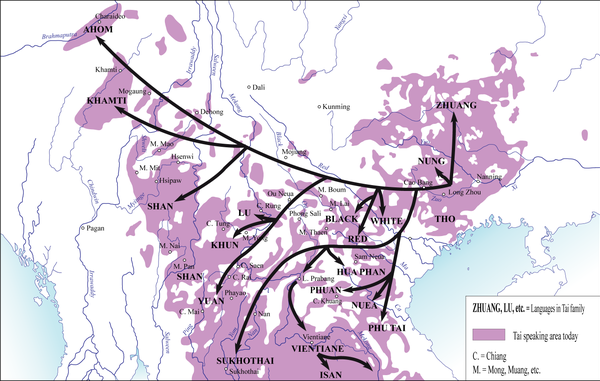 Map showing geographic distribution of Tai-Kadai linguistic family. Arrows represent general pattern of the migration of Tai-speaking tribes along the rivers and over the lower passes. TaiFamilyTree Overlaid On Map.png