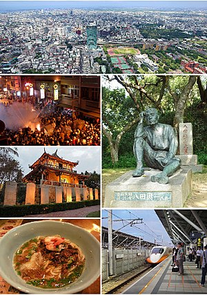 Tainan - Clockwise from top: Downtown Tainan, Statue of Yoichi Hatta, THSR Tainan Station, Dan zai noodles, Fort Provintia, Beehive firework in Yanshui.