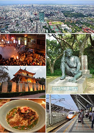Tainan - Clockwise from top: Downtown Tainan, Statue of Yoichi Hatta, THSR Tainan Station, Dan zai noodles, Fort Provintia, Beehive firework in Yanshui.