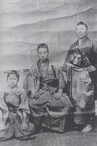 Takasugi Shinsaku - Kunimatsu Mitani (left), follower of Takasugi Shinsaku (center), and Itō Hirobumi (right)