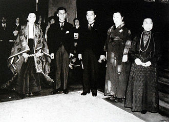 Kazuko Takatsukasa - The Princess and her husband on their wedding day. From left to right: Princess Kazuko, Toshimichi Takatsukasa, Emperor Hirohito, Empress Nagako, Empress Dowager Sadako (20 May 1950)