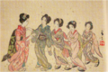 TakehisaYumeji-1921-Five Beauties under Cherry Blossoms.png