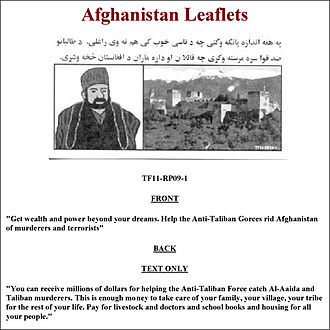 "Bounty (reward) - A bounty flyer offering rewards on behalf of the ""Anti-Taliban Forces"" in Afghanistan"