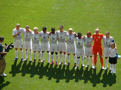 Little (third from left) with Great Britain women's Olympic football team, 2012 Team GB during anthem.jpg