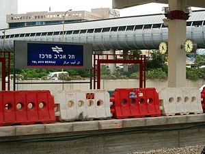 The train station of Tel Aviv-Yaffo, Israel. T...