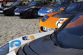 Bertha Benz Memorial Route - Tesla Roadsters at the Bertha Benz Challenge 2011 in Mannheim.