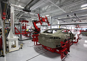 Tesla Factory - A Tesla Model S being manufactured at the Tesla Factory