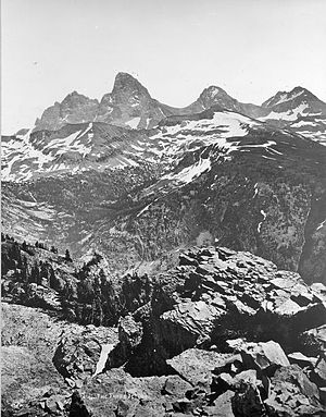 "Grand Teton National Park - ""The Three Tetons"" as seen from west of the Teton Range by members of the Hayden Geological Survey of 1872. One of the earliest photographs of the Teton Range taken by William Henry Jackson in 1872."