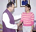 The Asian Junior Squash Champion (U-19) and the winner of British Junior Squash Open, Ms. Joshna Chinappa calls on the Union Minister for Youth Affairs and Sports, Shri Sunil Dutt in New Delhi on April 15, 2005.jpg