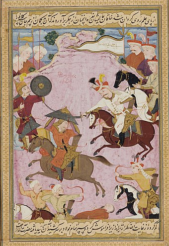 Ismail's battle with Uzbek warlord Muhammad Shaybani Khan in 1510, on a folio from the Kebir Musaver Silsilname. After the battle Ismail purportedly gilded the skull of Shaybani Khan for use as a wine goblet. The Battle between Shah Ismail and Shaybani Khan.jpg