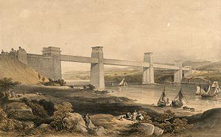 The Britannia Tubular Bridge over the Menai Straits. Robert Stephenson engineer