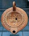 The Capitoline Triad (Jupiter, Juno, Minerva), Roman oil lamp terracotta, 1st century AD, Staatliche Antikensammlungen, Munich (8957202441).jpg