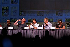 The Expendables (2010 film) - Crews, Austin, Stallone, Lundgren and Couture promoting The Expendables at the 2010 San Diego Comic-Con International.