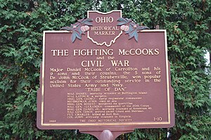 Fighting McCooks - Historical marker in front of Daniel's house in Carrollton