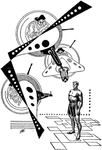 """The Golden Man - Illustration by Frank Kelly Freas for """"The Golden Man"""" in If : Worlds of Science Fiction (April 1954)"""