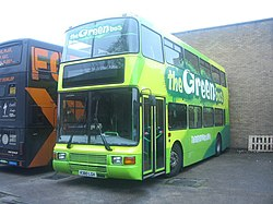 The Green Bus school bus 381 Volvo Olympian Northern Counties Palatine II R381 LGH in Birmingham 2 November 2008.jpg