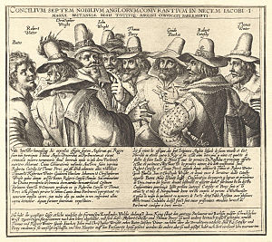 Gunpowder Plot - A contemporary engraving of eight of the thirteen conspirators, by Crispijn van de Passe.  Missing are Digby, Keyes, Rookwood, Grant, and Tresham.