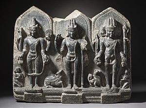 Hindu deities - A 10th century trinity – Vishnu, Shiva and Brahma – from Bihar.