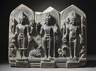 Hindu deities - A 10th century triad – Vishnu, Shiva and Brahma – from Bihar.