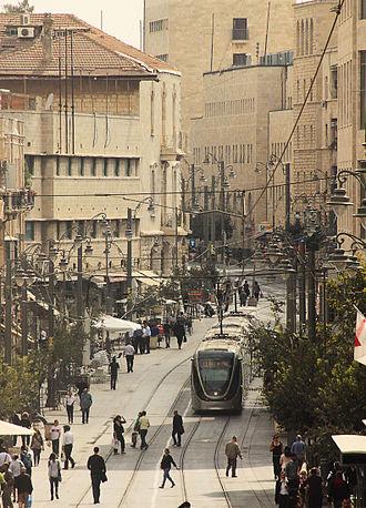 Jerusalem Light Rail - Jerusalem light rail on Jaffa Road, October 26, 2011