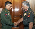 The Joint Chief of Staff of Defence Services, Myanmar, Lt. Gen. Hla Htay Win meeting the Army Chief, Gen. V.K. Singh, in New Delhi on October 14,2011.jpg