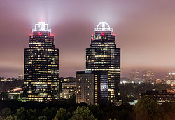 A large portion of modern Sandy Springs skyline is composed of the Concourse office towers.