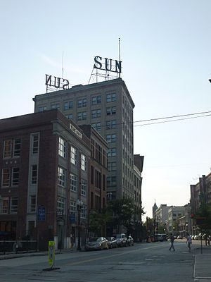 The Sun (Lowell) -  The former Lowell Sunheadquarters, as viewed from East Merrimack Street.  Lowell City Hall is visible in the background.