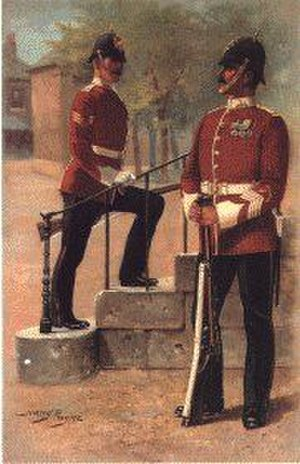 Manchester Regiment - The Manchester Regiment in the full dress uniform of 1914. Illustration by Harry Payne (1858–1927)