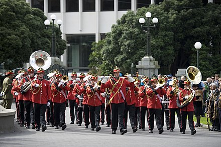 The New Zealand Army Band is one of three military bands maintained by the New Zealand Defence Force. The NZ Army band marches on Parliament forecourt - Flickr - NZ Defence Force.jpg