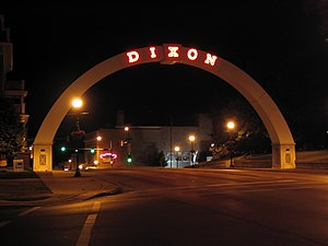 National Register of Historic Places listings in Lee County, Illinois - Image: The Neon Arch on Galena Avenue in Dixon, IL