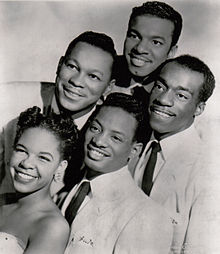 The Platters in 1955. From left to right: Taylor, Williams, Lynch, Robi, Reed.
