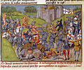 The Portuguese and English defeat the French vanguard of the King of Castille - Chronique d' Angleterre (Volume III) (late 15th C), f.201v - BL Royal MS 14 E IV.jpg