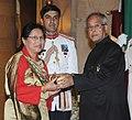 The President, Shri Pranab Mukherjee presenting the Padma Shri Award to Smt. Hildamit Lepcha, at an Investiture Ceremony-II, at Rashtrapati Bhavan, in New Delhi on April 20, 2013.jpg