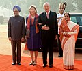 The President, Smt. Pratibha Devisingh Patil and the Prime Minister, Dr. Manmohan Singh at the ceremonial reception of the King Albert II and Queen Paola of Belgium, at Rashtrapati Bhavan, in New Delhi on November 04, 2008 (1).jpg