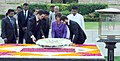 The President of Swiss Confederation, Mrs. Doris Leuthard laying wreath at the Samadhi of Mahatma Gandhi, at Rajghat, in Delhi.jpg