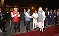 The Prime Minister, Shri Narendra Modi being seen-off by the Governor of Gujarat, Shri O.P. Kohli and the Chief Minister of Gujarat, Shri Vijay Rupani, as he departs from Ahmedabad on September 14, 2017.jpg