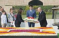 The Prime Minister of Canada, Mr. Justin Trudeau laying wreath at the Samadhi of Mahatma Gandhi, at Rajghat, in Delhi on February 23, 2018.jpg