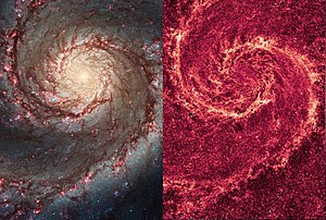 Whirlpool Galaxy - The image of the Whirlpool Galaxy in visual light (left) and infrared light (right).